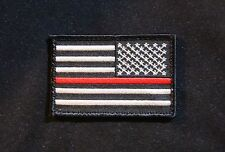 Firefighter Thin Red Line Reverse United States Flag Iron On Patch Fire & Rescue