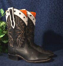 Gorgeous Black & White LARRY MAHON  Western Cowboy Boots 6.5M