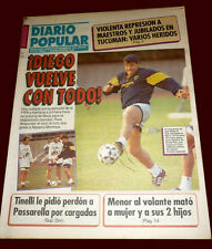 DIEGO MARADONA Returns to Boca Juniors RARE Newspaper 1995
