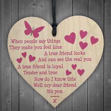 TRUE FRIEND Inspirational Motivational Friendship Gift Sign Butterfly Heart Wood