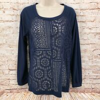 Xhilaration Womens Knit Top Shirt Size Medium Navy Lace Front Pullover LS