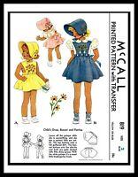 McCall 819 Sewing Pattern Toddler Dress Frock BONNET PANTIES BABY GIRL Child PIK