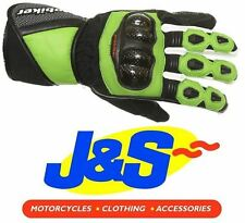 PROBIKER PRX-12 LEATHER MOTORCYCLE GLOVES MOTORBIKE GLOVE RACING RACE GREEN J&S