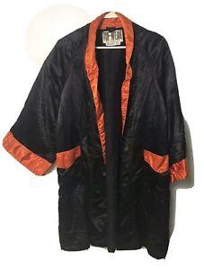 Vtg Boys Boxing Robe Silk Satin Tuf-Wear Black & Orange Trim Jacket Sz M Medium