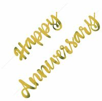 HAPPY ANNIVERSARY GOLD BANNER HANGING DECORATION PARTY SUPPLIES