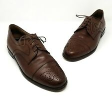 Bloomingdale's Brown Leather Oxford Shoes Loafers Vibram Soles Mens 10.5