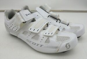 Scott Fusion Laminate White Cycling Shoes with Pedal Clips Size 6