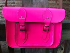 "Cambridge Satchel Company Neon Fluoro Pink Satchel 11"" Crossbody Bag Leather"