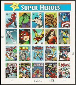 Marvel Comics Super Heroes Sheet of Twenty 41 Cent Stamps Scott 4159 By USPS