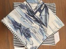 Pottery Barn Set/2 SAIL BOAT / BLUE STRIPE PILLOW COVERs Beach Nautical Coastal