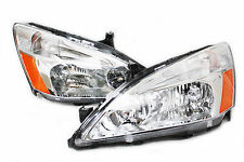 03-07 Honda Accord 2/4 Door OE Chrome Headlights w/Amber Reflector Inspire City
