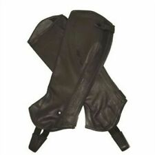 Mark Todd Half Chaps Close Fit Soft Leather Short Black Large