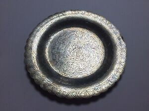 Antique Arabic Egyptian Cairo silver 0.900 plate 1968-75-254gr-22cm