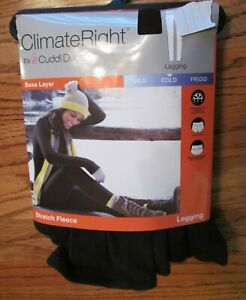 Climate Right CUDDL DUDS~BLACK Stretch Fleece LEGGING~Women's SMALL~New in Pkg.