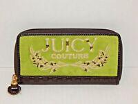 Green Velvet Zip-Around Clutch Style Designer Wallet - JUICY COUTURE - NEW, LOGO