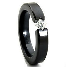 BLACK TITANIUM TENSION UNISEX RING with 4mm SQUARE CZ in size 10 - NEW in Box!