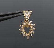 Vintage 0.25ct Diamond & 14K Yellow Gold Open Heart Dangling Pendant