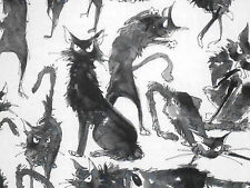 1YD Halloween GHASTLIES SEBASTIAN BLACK CATS DE7159 White A Henry Fabric