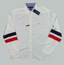 New Tommy Hilfiger Men's Slydell Stripe Shirt Long Sleeve White Size L