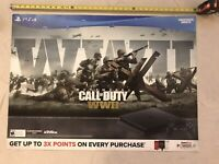 Call Of Duty World War ll WWll PS4 BANNER 36x26 Gamestop Promo Poster Zombies