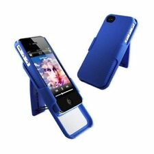 For iPhone 4 4S COMBO Belt Clip Holster Hard Case Cover Stand Accessory Blue