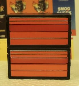TWO RED/BLACK FIVE DRAWERS TOOL CHEST WITH TOOLS MINIATURE 1/24 (G) SCALE