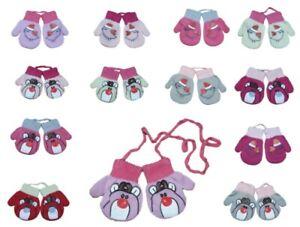 Baby Girl Toddler Children Autumn Sticker Mittens With String Gloves Size 6-18M