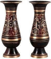 Decorative Brass 8 inch Flower Vase Set of 2  (Nakkashi-Work)