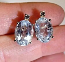 Wow! 5CT Oval Genuine Blue Aquamarine + Diamond 14K Yellow Gold Stud Earrings