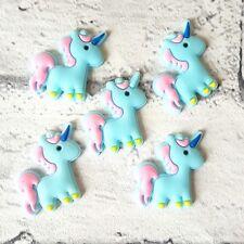Craft Supplies Cabochons Embellishments Set of 5 Blue Unicorn Flatbacks
