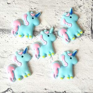 Set of 5 Blue Unicorn Flatbacks, Cabochons, Embellishments, Craft Supplies