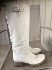 FREE LANCE Paris White Leather Textured Biker Campus Tall Boots Sz 37 US 7 7.5