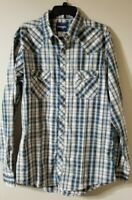Wrangler Western Pearl Snap Plaid Shirt Mens Size L long sleeve brown blue