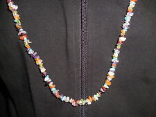 "Sterling 48"" .925 Multi-gemstone Necklace Amethyst Turquoise Quartz Peridot"