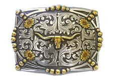 AndWest Western Mens Belt Buckle Longhorn Antique Silver Gold 934