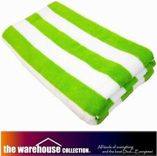 100% COTTON 75X150 LARGE STRIPE Lime Green STRIPED POOL BEACH BATH TOWEL TOWELS