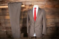 SUIT 38R 34W 30L BROWN HOUNDSTOOTH CHECK WOOL MAGEE
