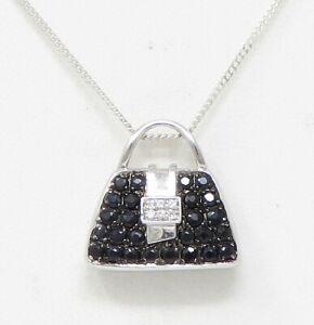 "NYJEWEL 18k White Gold 1ctw Black & White Diamond Purse Pendant W 19.5"" SS Chain"