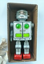 Vintage Silver Horikawa Attacking Martian + Box Space Robot Japan 1960's Tin Toy
