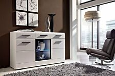 NEW Wide Sideboard Display Cabinet High Gloss White inc LED Lights Doors Drawers