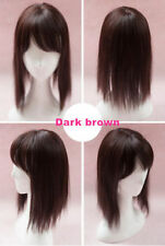 Synthetic Human Hair Mono Hairpiece for Hair Loss Clip in Hair Topper with bang