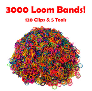 3000 Loom Bands Assorted Mix coloured Bands 120 clips + 5 Tool Arts Craft Kit