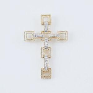 615-17 14Kt Yellow Gold Cross Pendant Necklace 1/4 ct diamond  (Estate Piece)