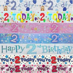 AGE 2 BIRTHDAY BANNER - Foil Holographic Party Decorations - 9ft / 2.6 Metre