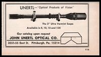 """1970 John UNERTYL 2"""" Target Rifle Scope PRINT AD Small Partial-page CLIPPING"""