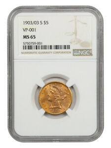 1903/03-S $5 NGC MS65 (VP-001) Tied for Finest Known - Tied for Finest Known