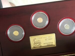 2007 malawi investment gold rose gold white gold 3pc coin set