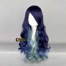 Lolita Blue Purple Mixed Green Ombre Long Curly Bang Fashion Party Cosplay Wig