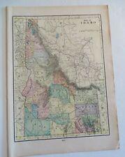 """Antique 1906 Color Map Idaho Washington 11"""" X 16"""" #4149"""