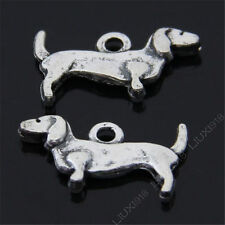 20pc Retro Tibetan Silver Dangle Daschund Dog Animal Pendant Charms Beads 485AF